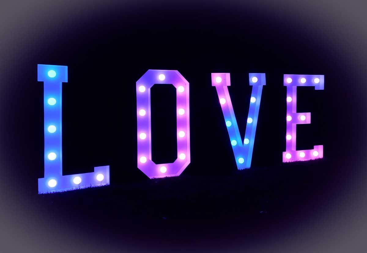 XXL LOVE Buchstaben Pink/Blau